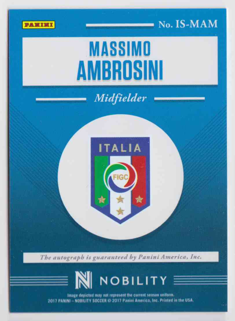 2017 Panini Nobility Iconic Signatures Bronze Massimo Ambrosini #IS-MAM card back image