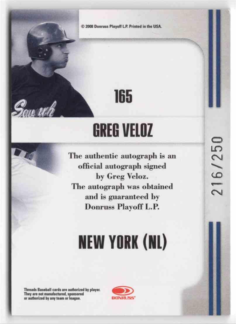2008 Donruss Threads Greg Veloz #165 card back image