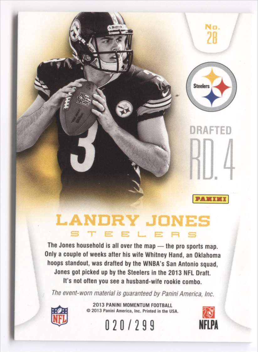 2013 Panini Momentum Rookie Team Threads Triple Materials Landry Jones #28 card back image