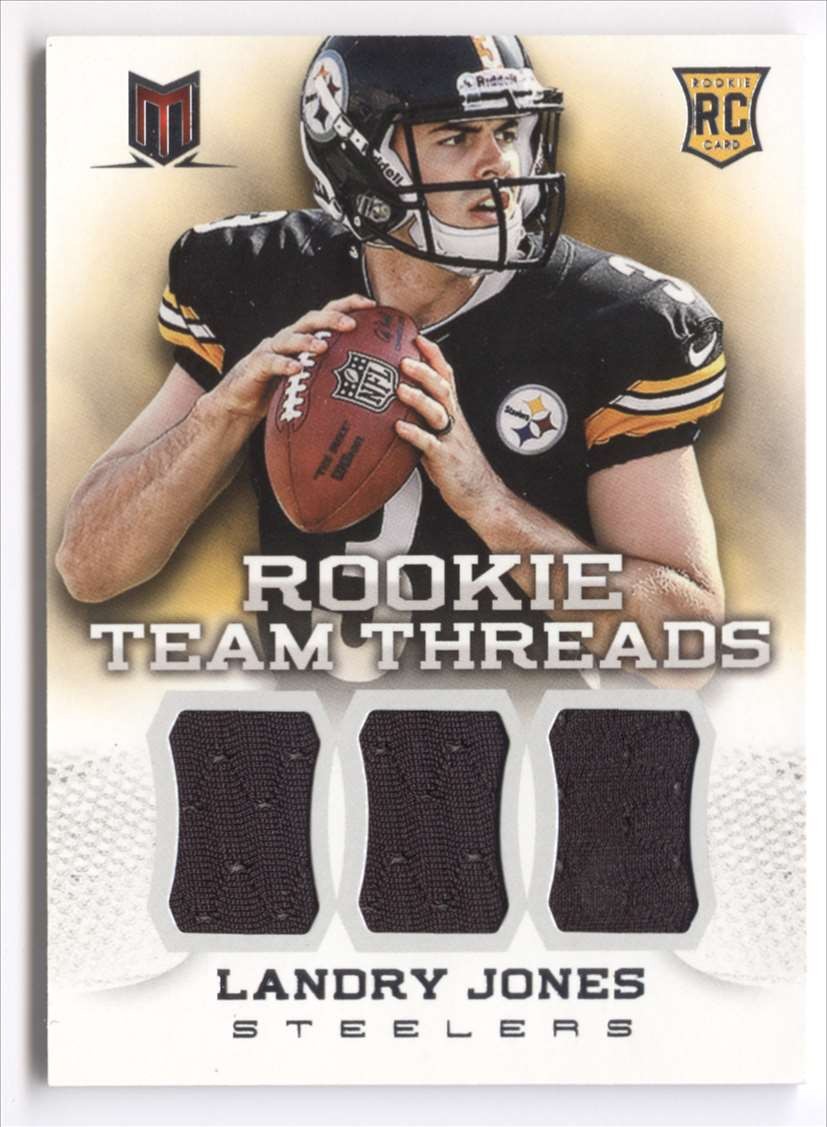 2013 Panini Momentum Rookie Team Threads Triple Materials Landry Jones #28 card front image