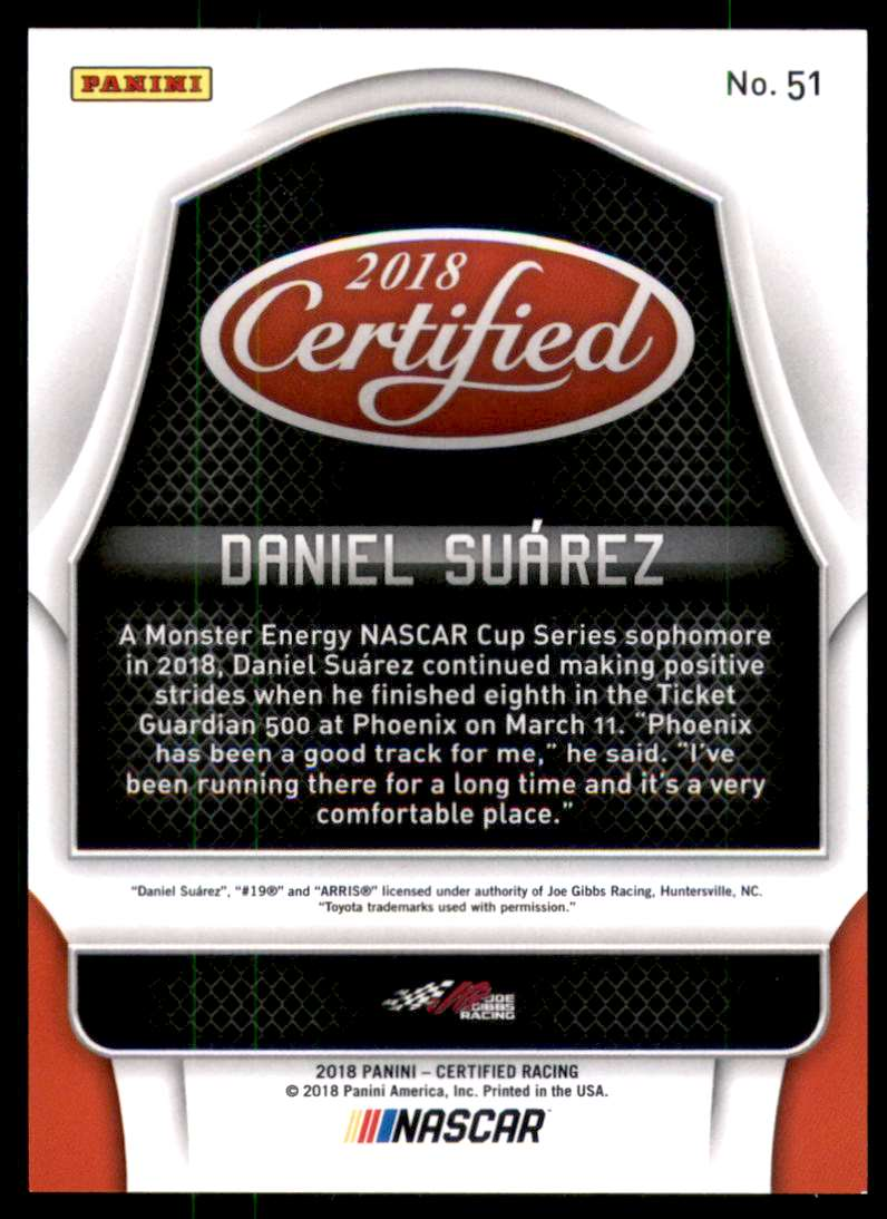2018 Certified Orange Daniel Suarez #51 card back image