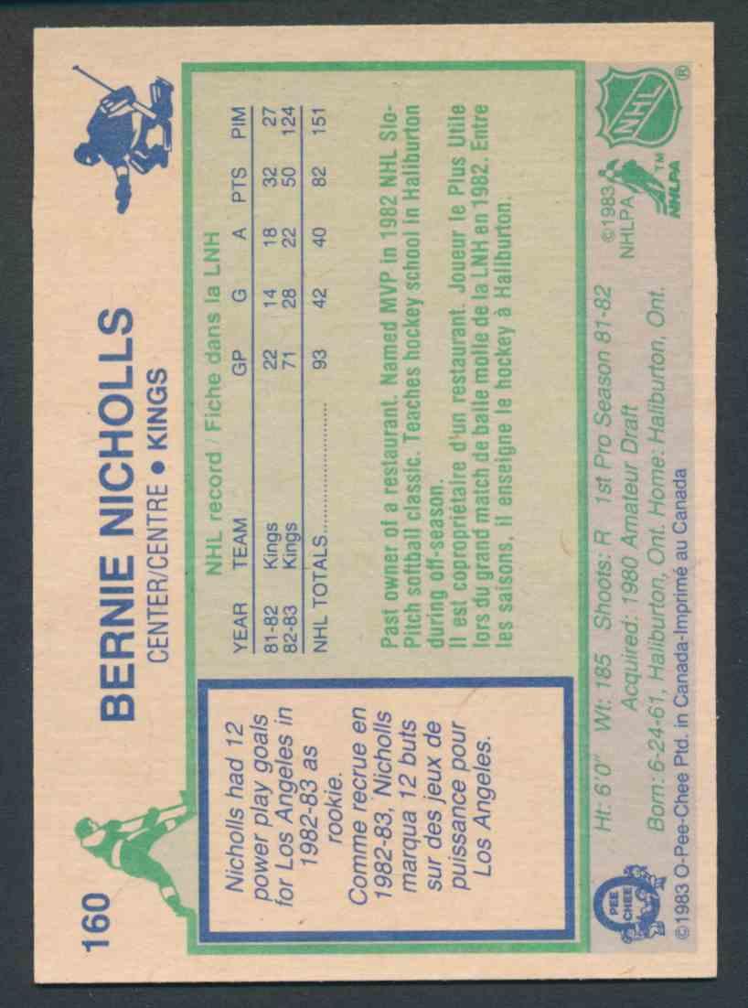 1983-84 O-Pee-Chee Bernie Nicholls #160 card back image