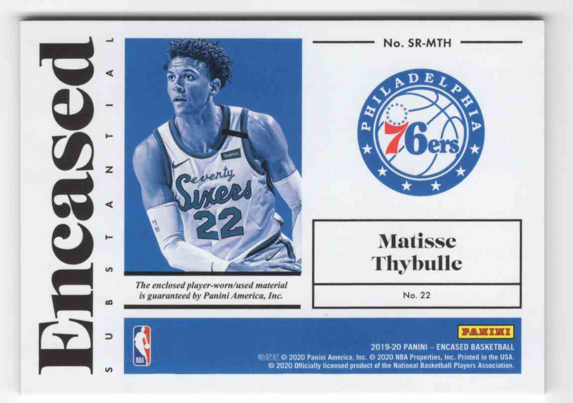 2019-20 Panini Encased Substantial Swatches Rookies Matisse Thybulle #23 card back image