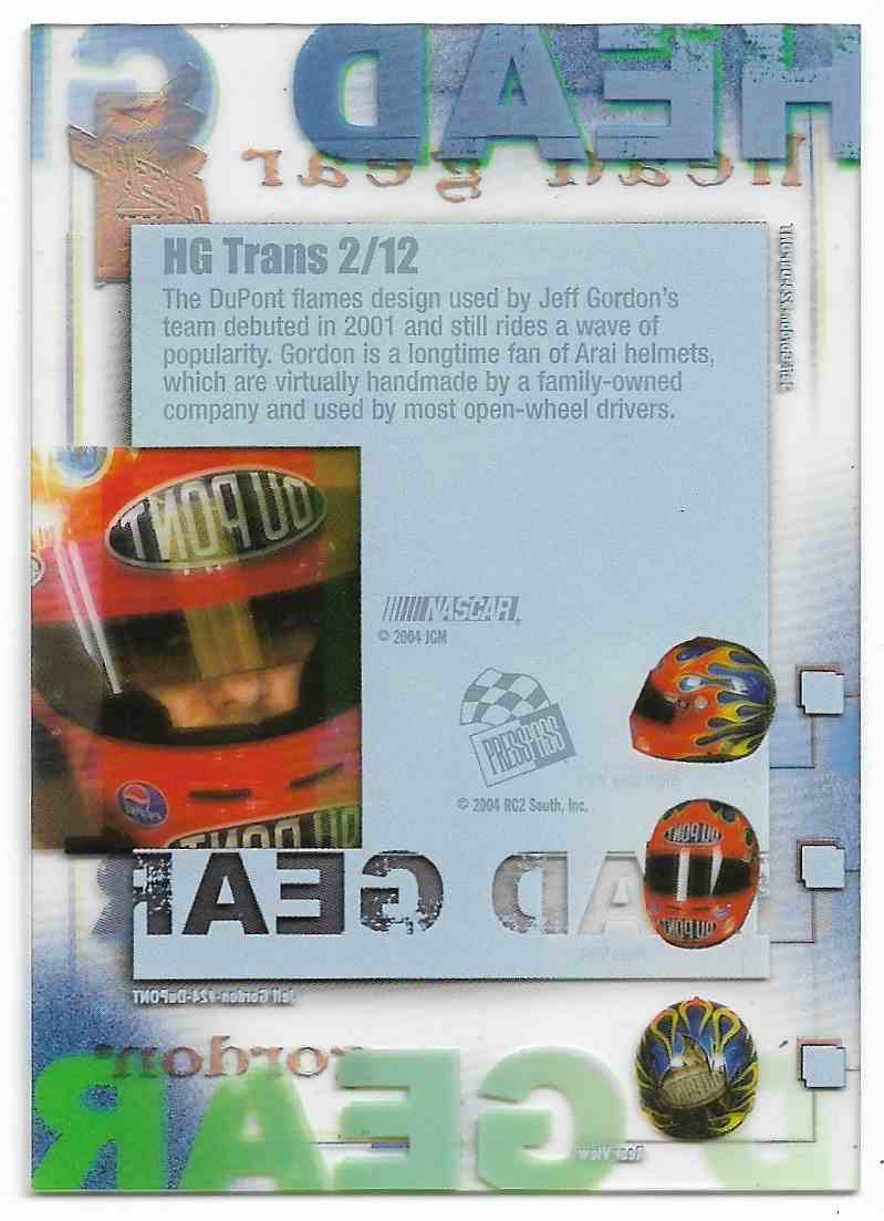 2004 Press Pass Vip Head Gear Transparent Jeff Gordon #2 card back image