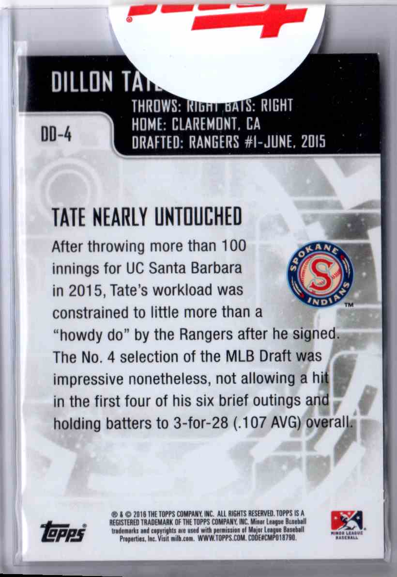 2016 Topps Prp Topps Major League Debut Distinguished Debuts Dillon Tate #DD4 card back image
