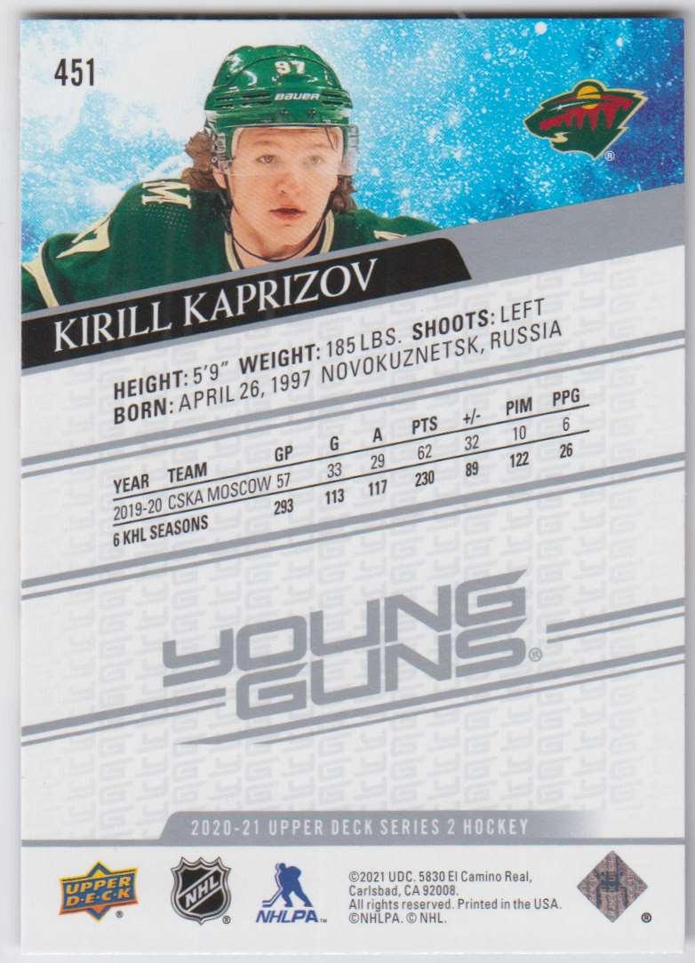 2020-21 upper deck kirill kaprizov #451 card back image