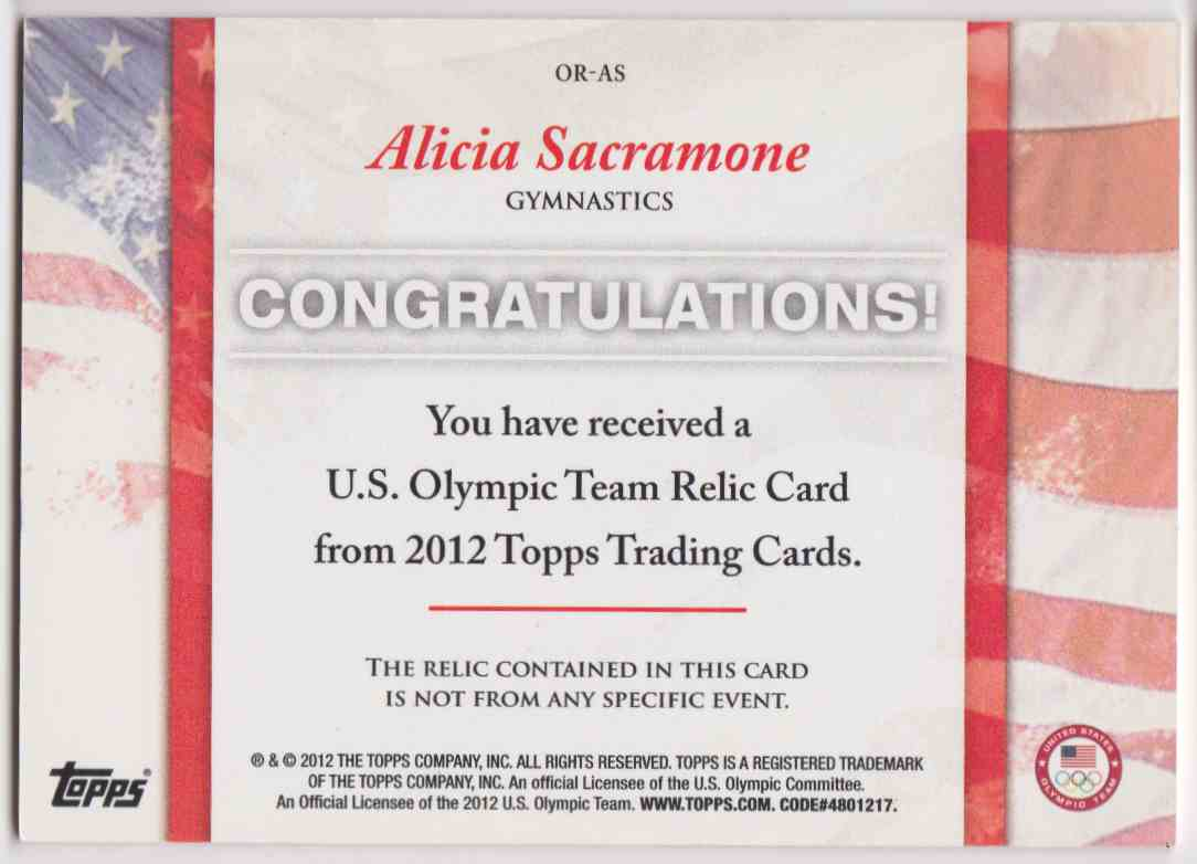 2012 Topps U.S. Olympic Team Relic Alicia Sacramone #OR-AS card back image