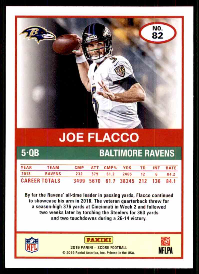 2019 Score Joe Flacco #82 card back image
