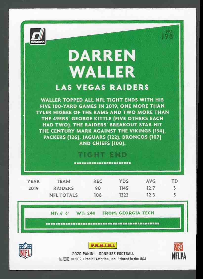 2020 Panini Base Darren Waller #198 card back image