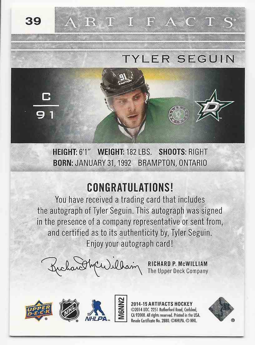 2014-15 Artifacts Black Tyler Seguin #39 card back image
