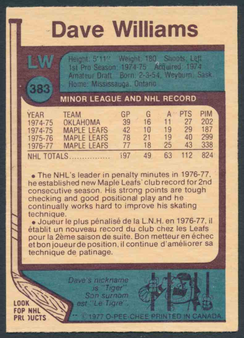1977-78 O-Pee-Chee Dave Williams #383 card back image
