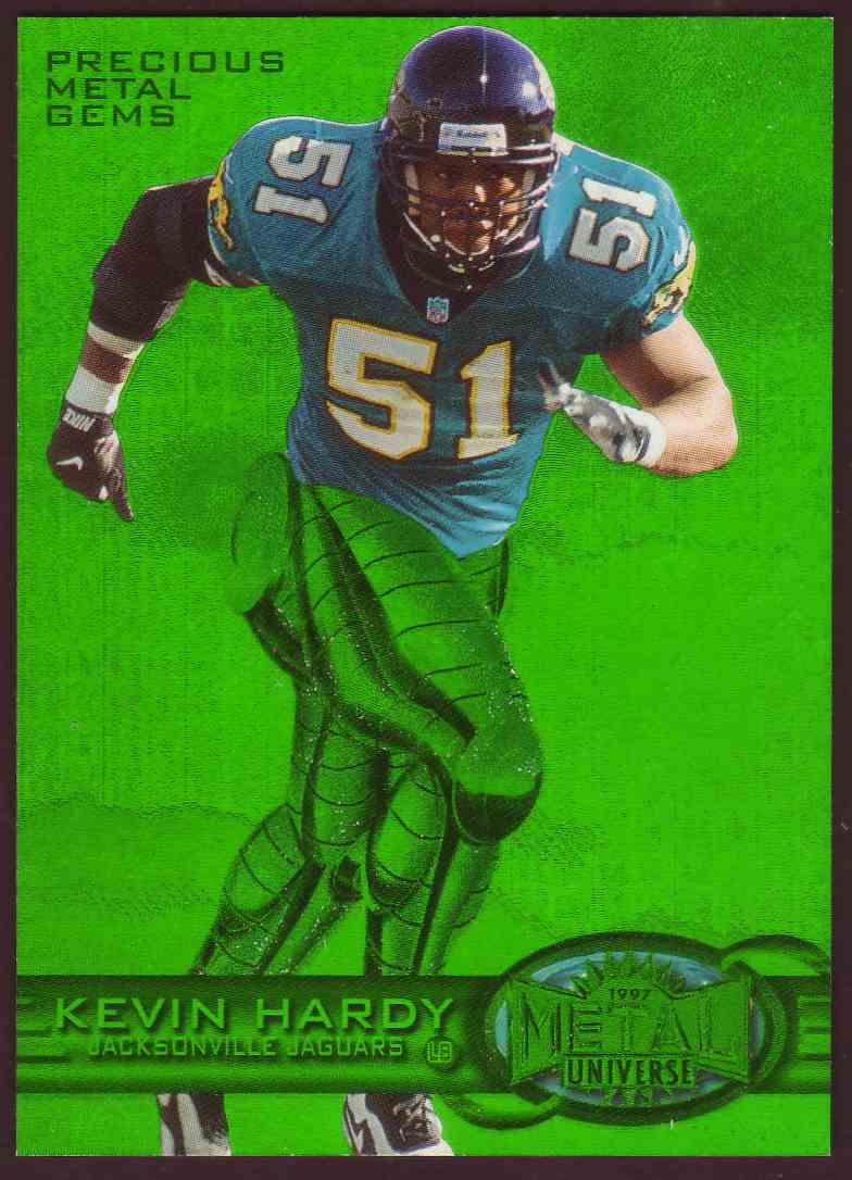 1997 Skybox Metal Universe Precious Metal Gems Green Kevin Hardy #100 card front image
