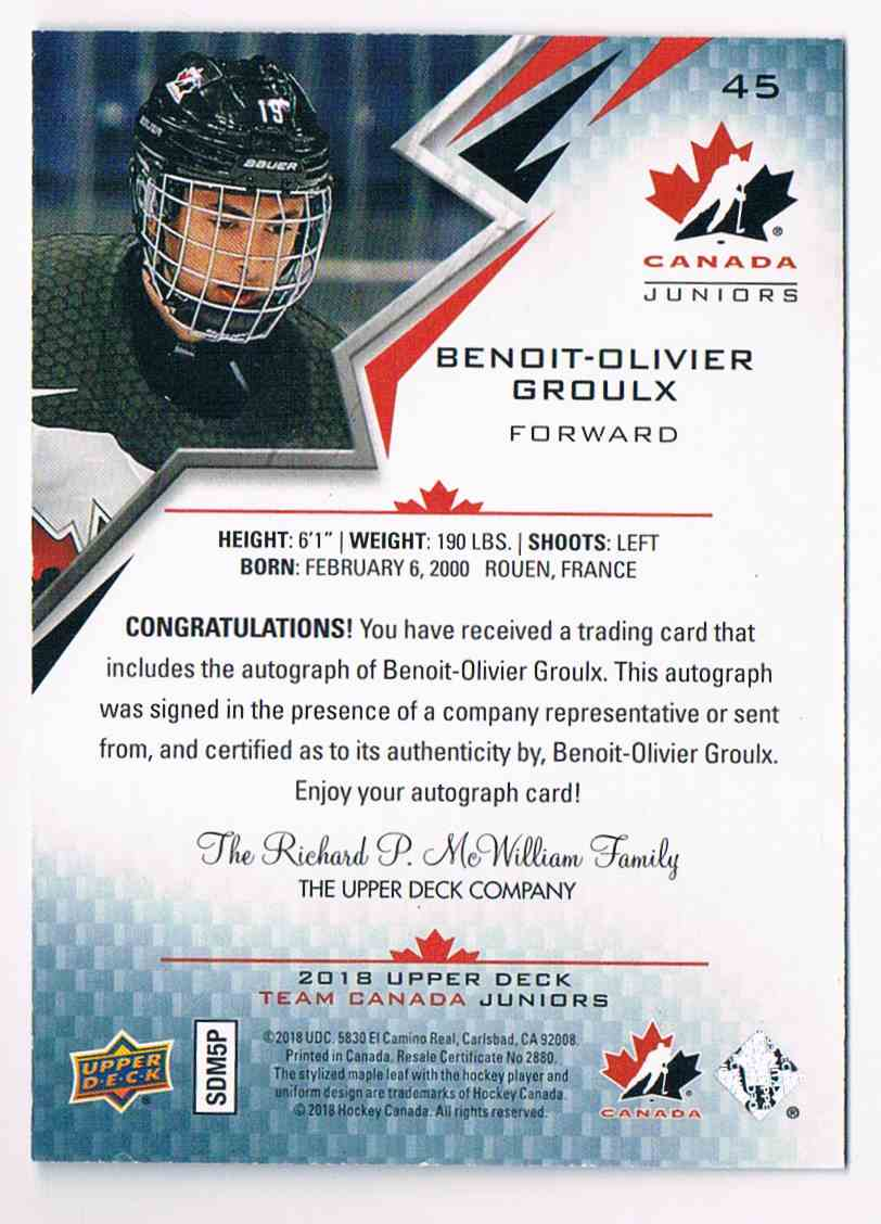 2018-19 Upper Deck Canada Juniors Black Benoit-Olivier Groulx #45 card back image