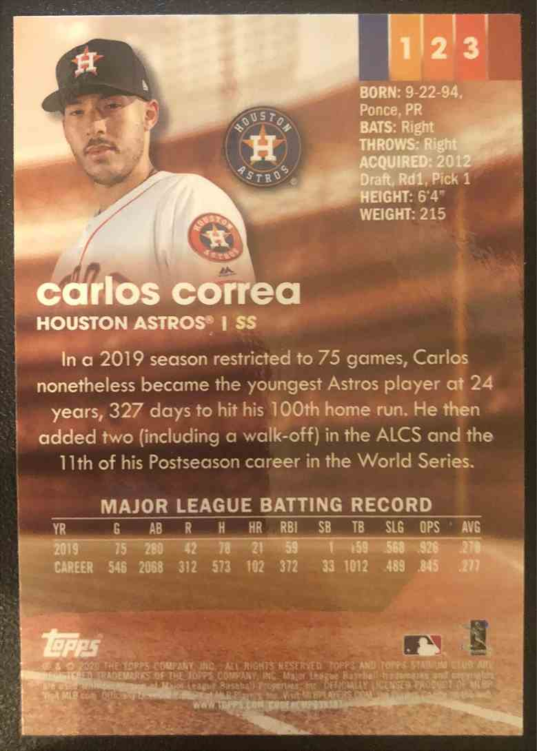 2020 Topps Stadium Club Carlos Correa #123 card back image