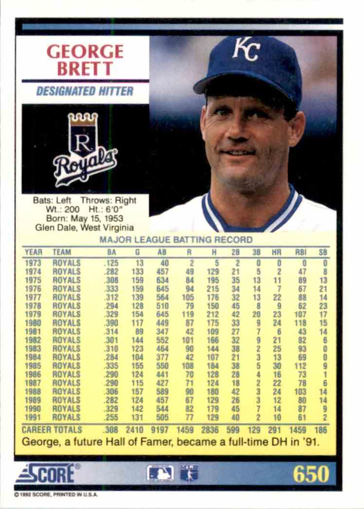 1992 Score George Brett 650 On Kronozio