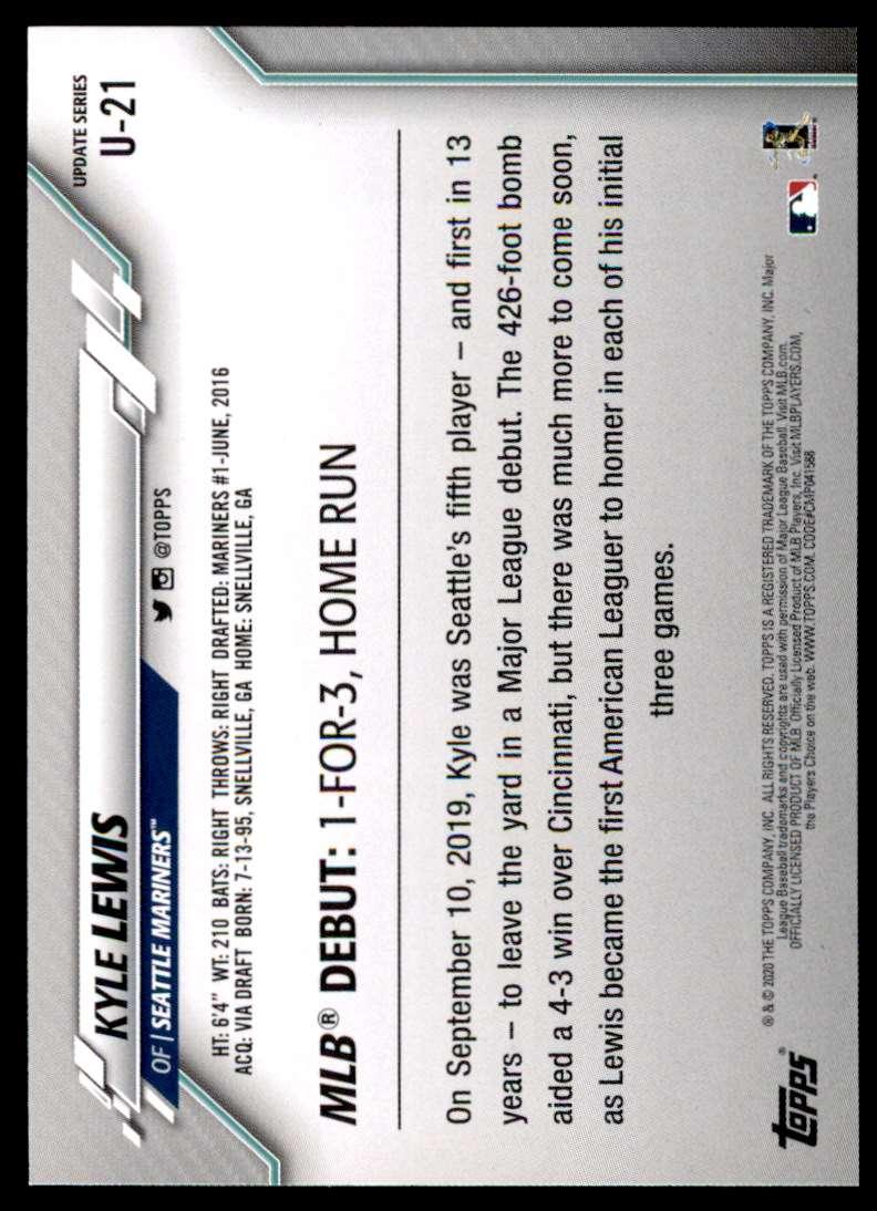 2020 Topps Update Kyle Lewis #U-21 card back image
