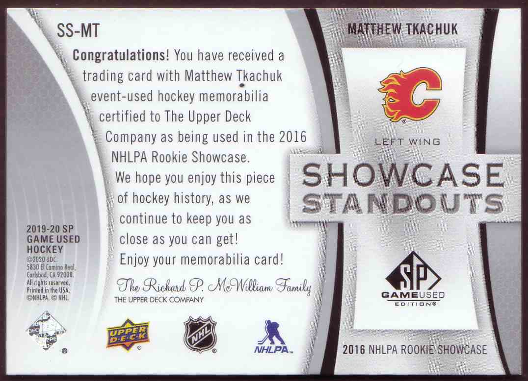 2019-20 SP Game Used Showcase Standouts Matthew Tkachuk #SS-MT card back image