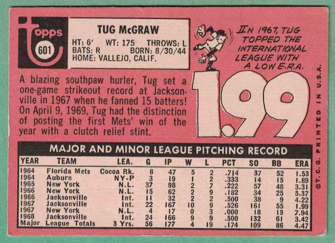 1969 Topps Tug McGraw EX #601 card back image