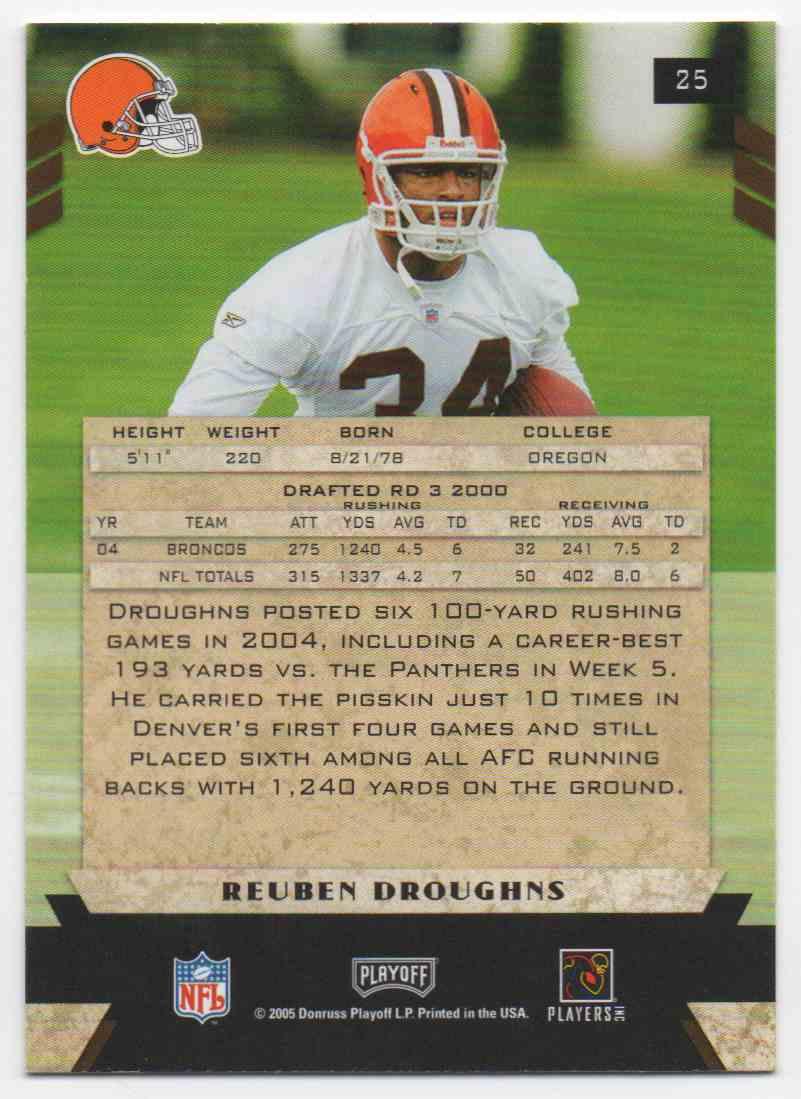 2005 Playoff Honors Reuben Droughns #25 card back image