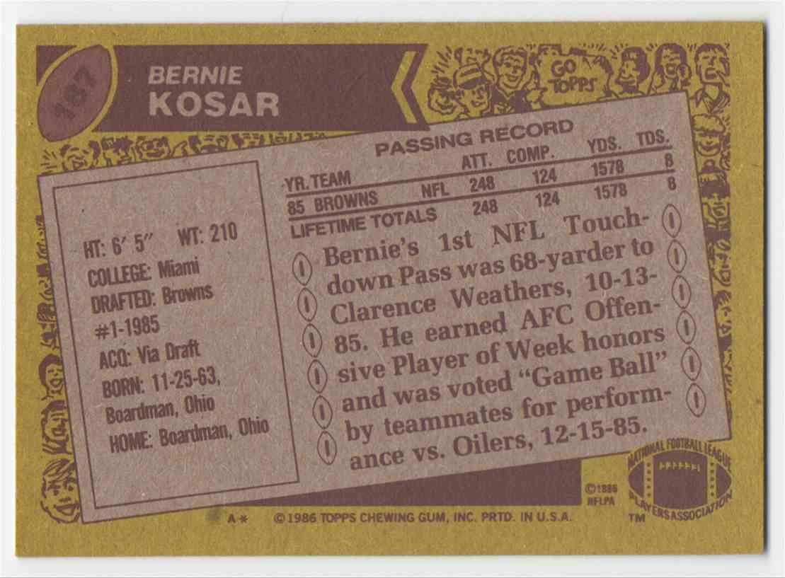 1986 Topps Bernie Kosar #187 card back image