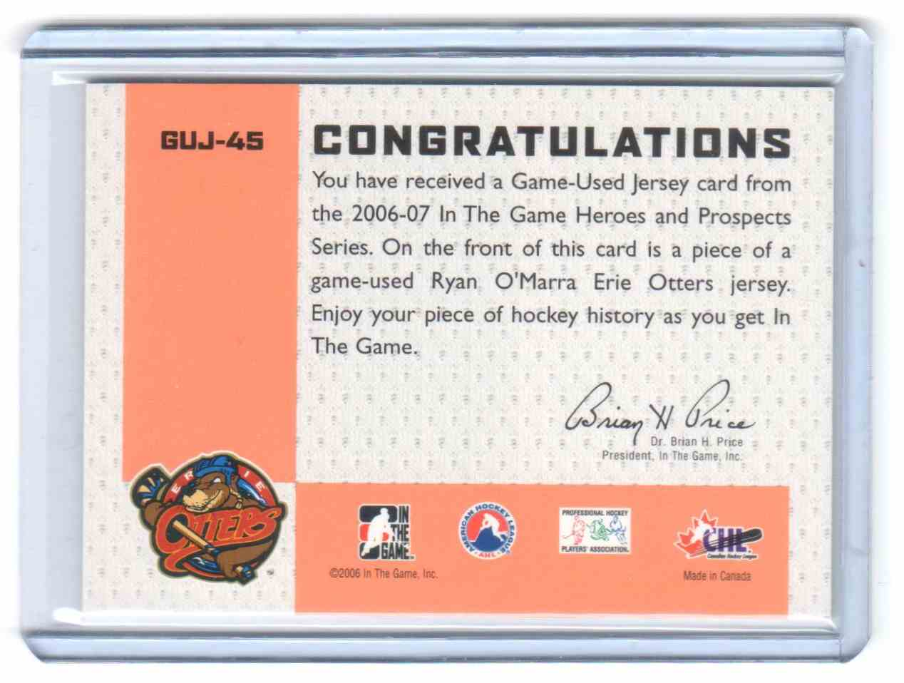 2006-07 In The Game Heroes And Prospects Jerseys Ryan O'Marra #GUJ-45 card back image