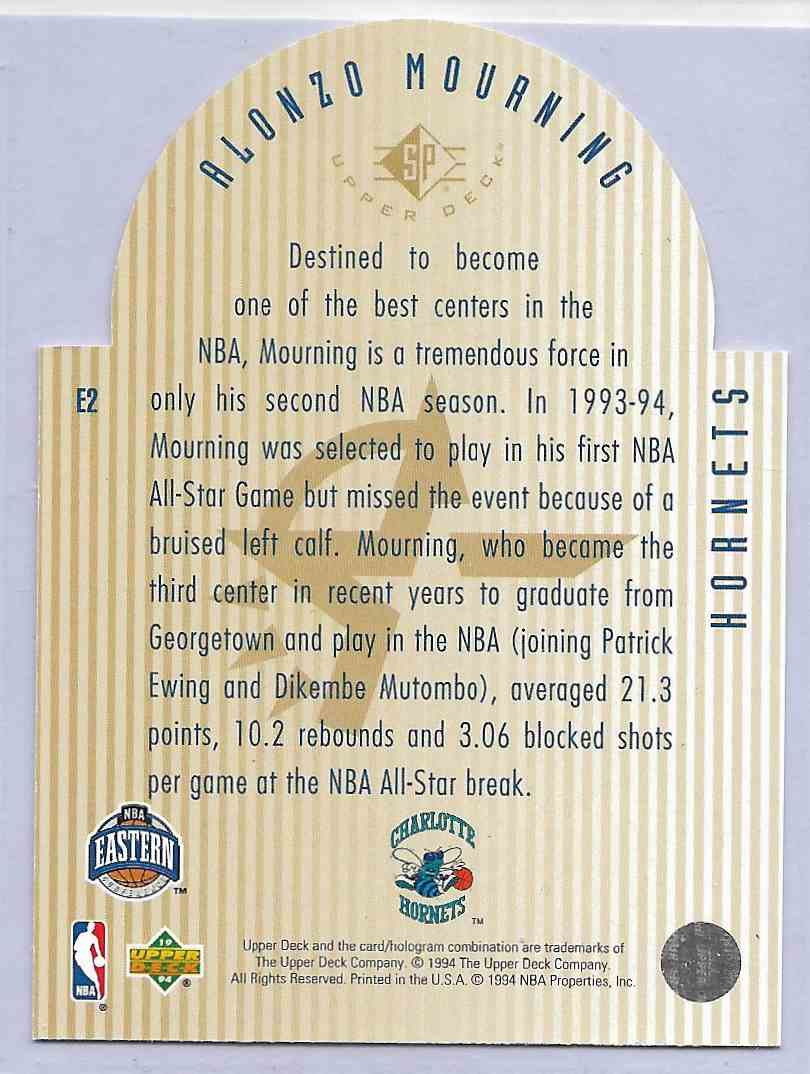 1994-95 Upper Beck Se All Star Die Cuts Alonzo Mourning #E2 card back image