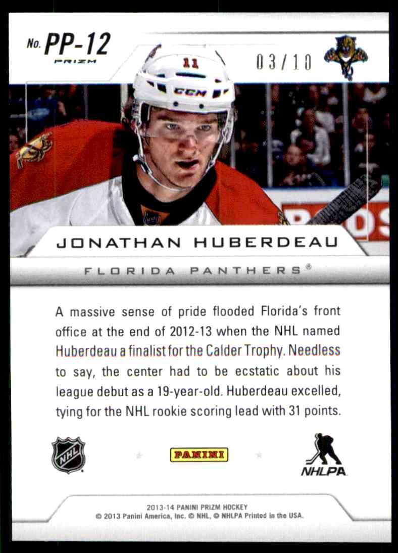2013-14 Prizm Pivotal Players Prizms Gold Jonathan Huberdeau #PP-12 card back image