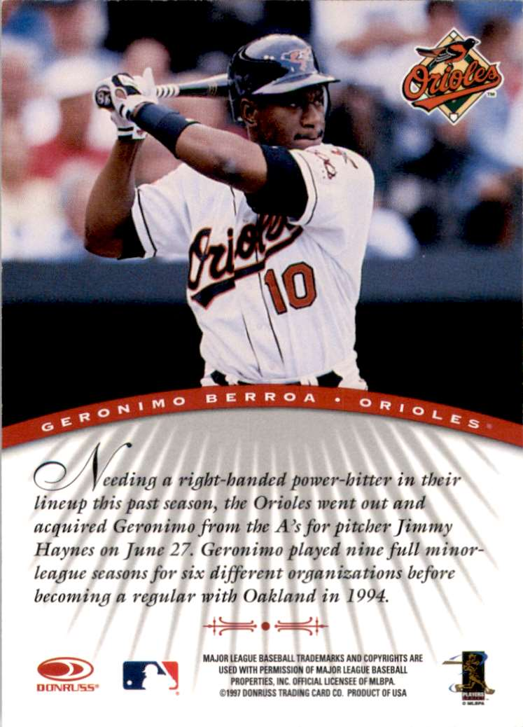 1997 Donruss Signature Autographs Geronimo Berroa #11 card back image
