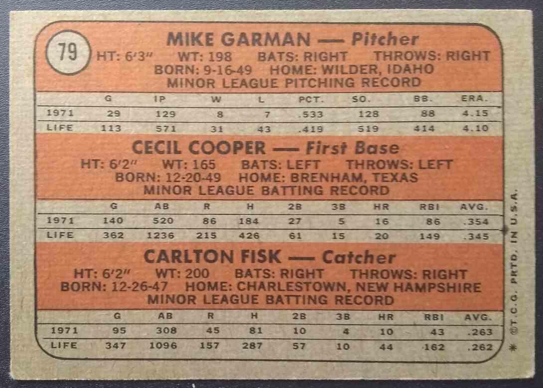 1972 Topps Carlton Fisk Cecil Cooper Mike Garman #79 card back image