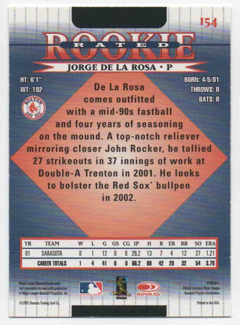 2002 Donruss Jorge De La Rosa #154 card back image