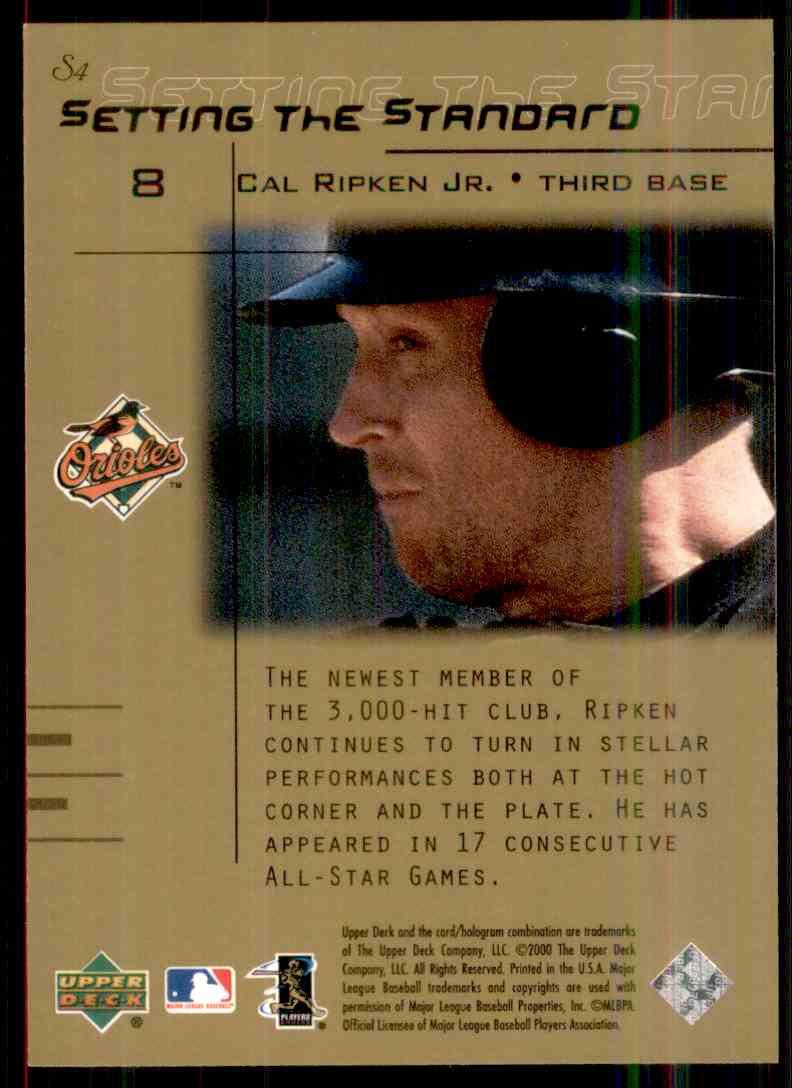 2000 Upper Deck Gold Reserve Setting The Standard Cal Ripken JR. #S4 card back image
