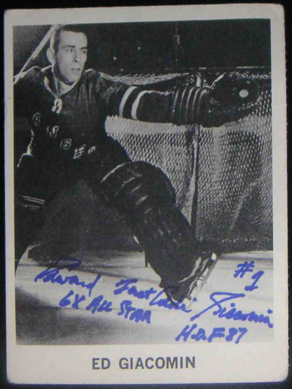 1965-66 Coca-Cola NHL Players Ed Giacomin card front image