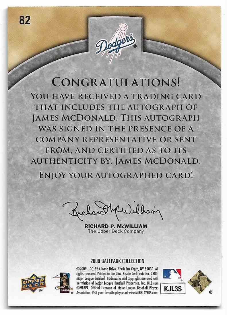 2009 Upper Deck Ballpark Collection James McDonald #82 card back image
