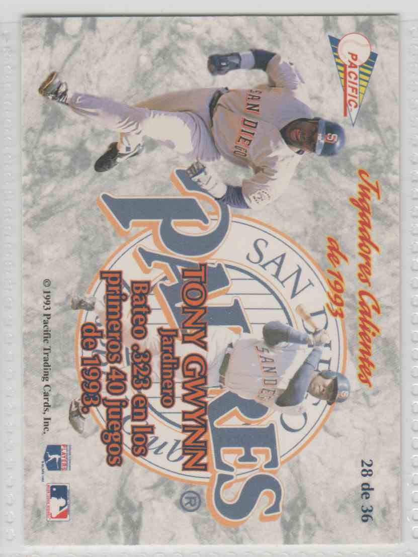 1993 Pacific Jugadores Calientes Tony Gwynn #28 card back image