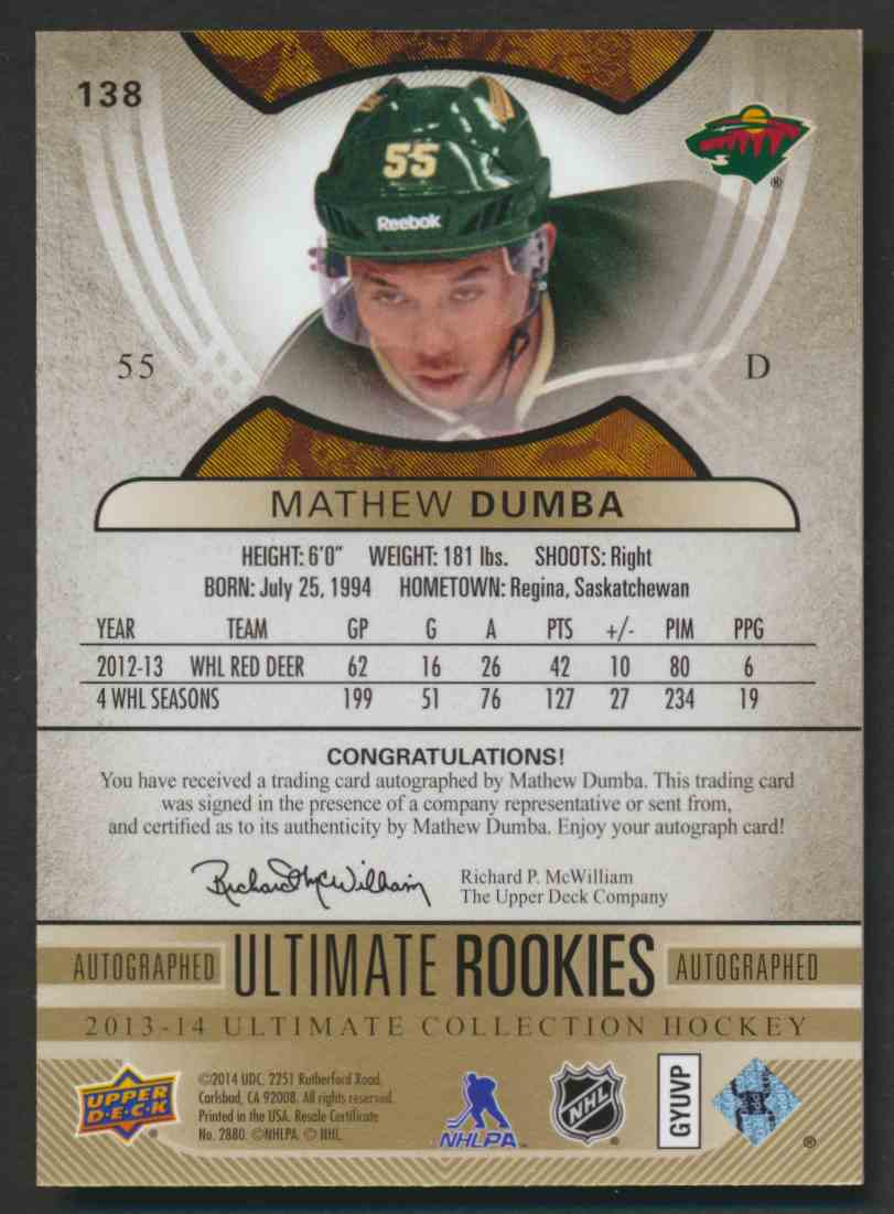 2013-14 Upper Deck Ultimate Rookies Mathew Dumba #138 card back image