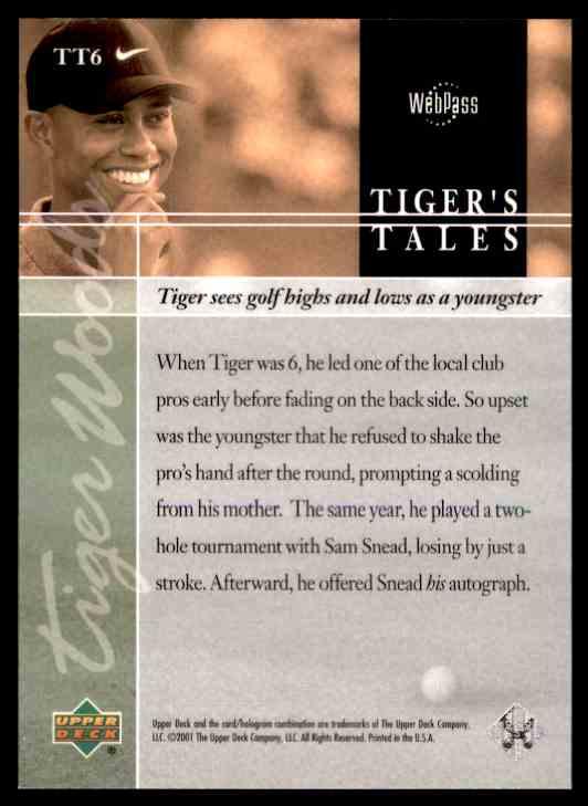 2001 Upper Deck Tiger Woods #TT6 card back image