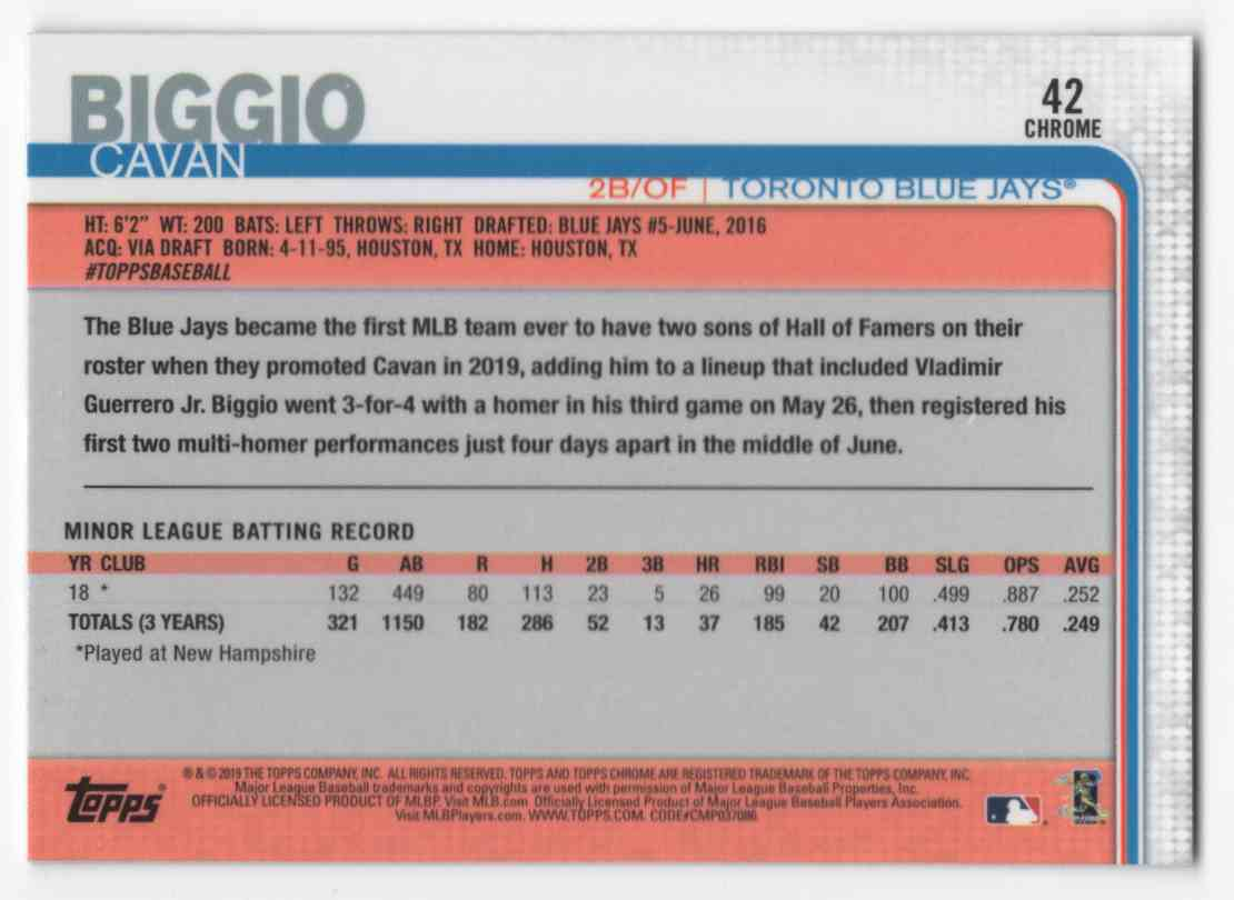 2019 Topps Chrome Update Cavan Biggio #42 card back image