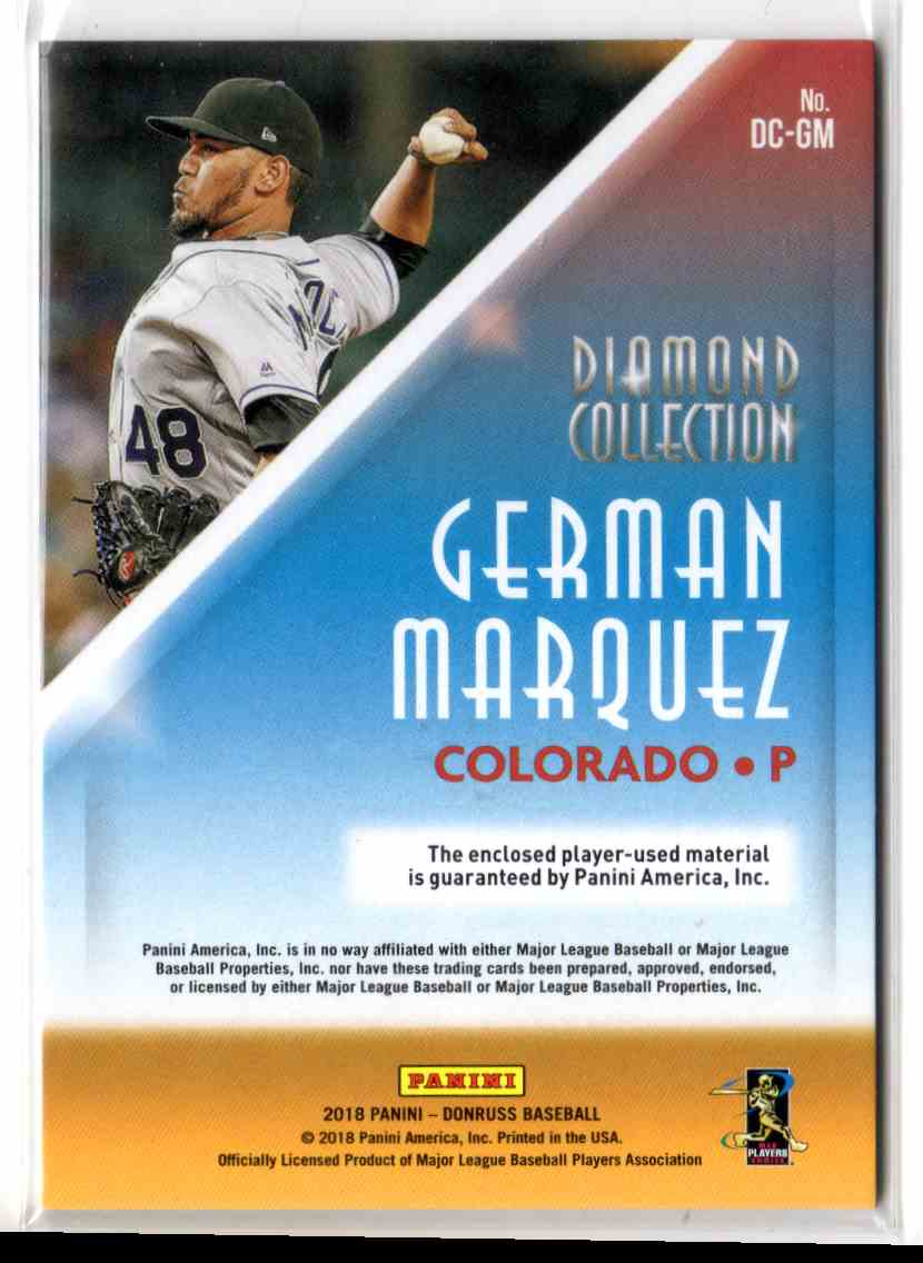 2018 Donruss Diamond Collection Memorabilia German Marquez #DCGM card back image