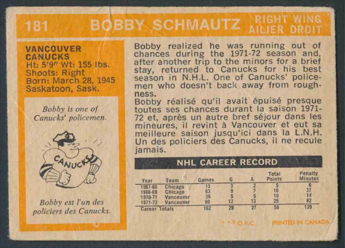 1972-73 O-Pee-Chee Bobby Schmautz #181 card back image