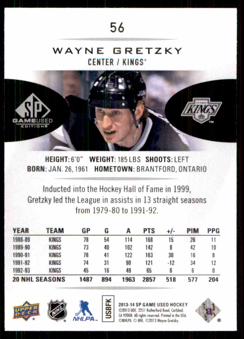 2013-14 SP Game Used Wayne Gretzky #56 card back image