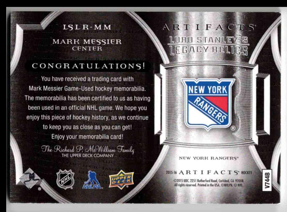 2015-16 Upper Deck Artifacts Lord Stanley's Legacy Relics Gold Mark Messier #LSLR-MM card back image