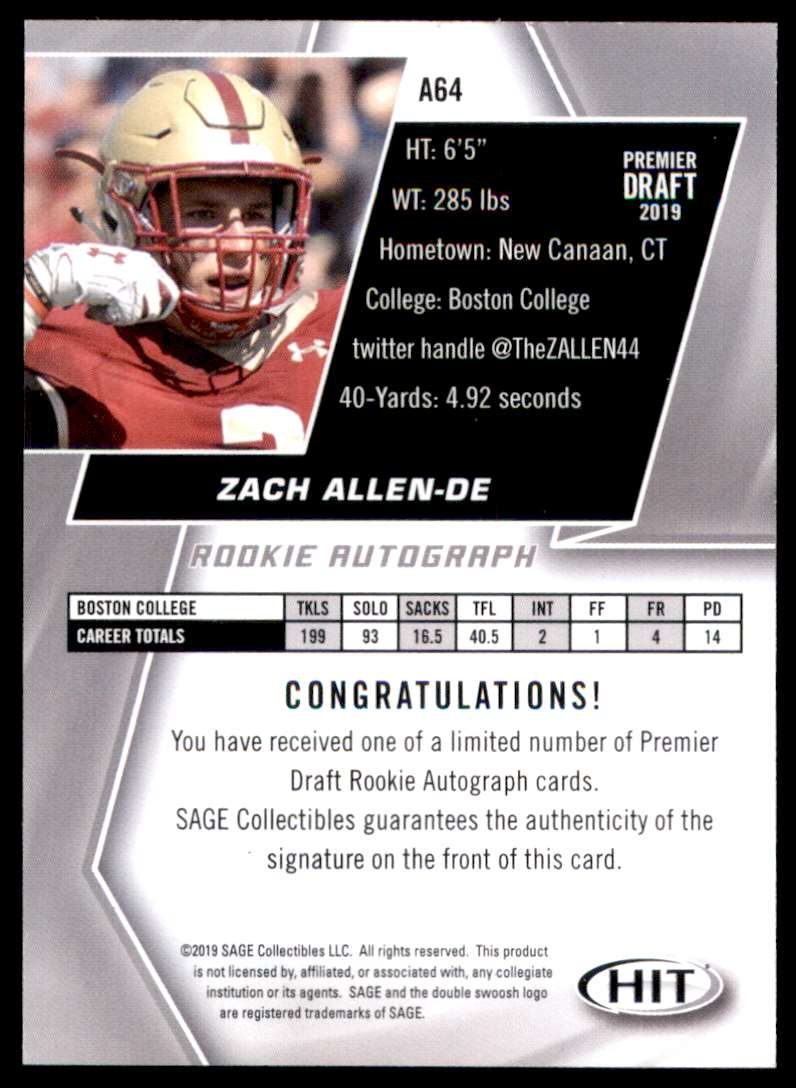 2019 Sage Hit Autographs Red Zach Allen #A64 card back image