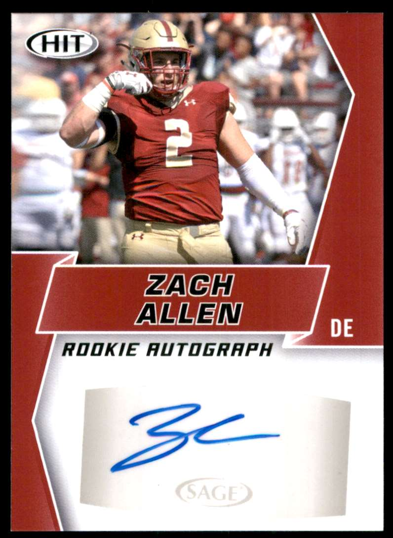 2019 Sage Hit Autographs Red Zach Allen #A64 card front image