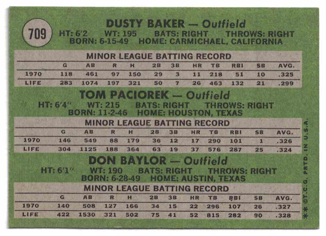 1971 Topps Don Baylor, Dusty Baker, Paciorek Rookie Stars High Number NM-MT #709 card back image