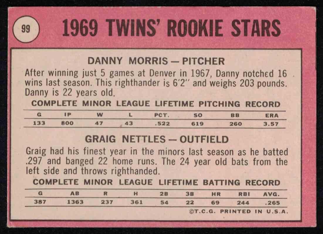 1969 Topps Graig Nettles VG-EX #99 card back image