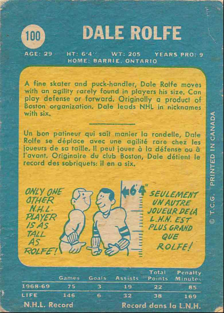 1969-70 O-Pee-Chee Dale Rolfe #100 card back image