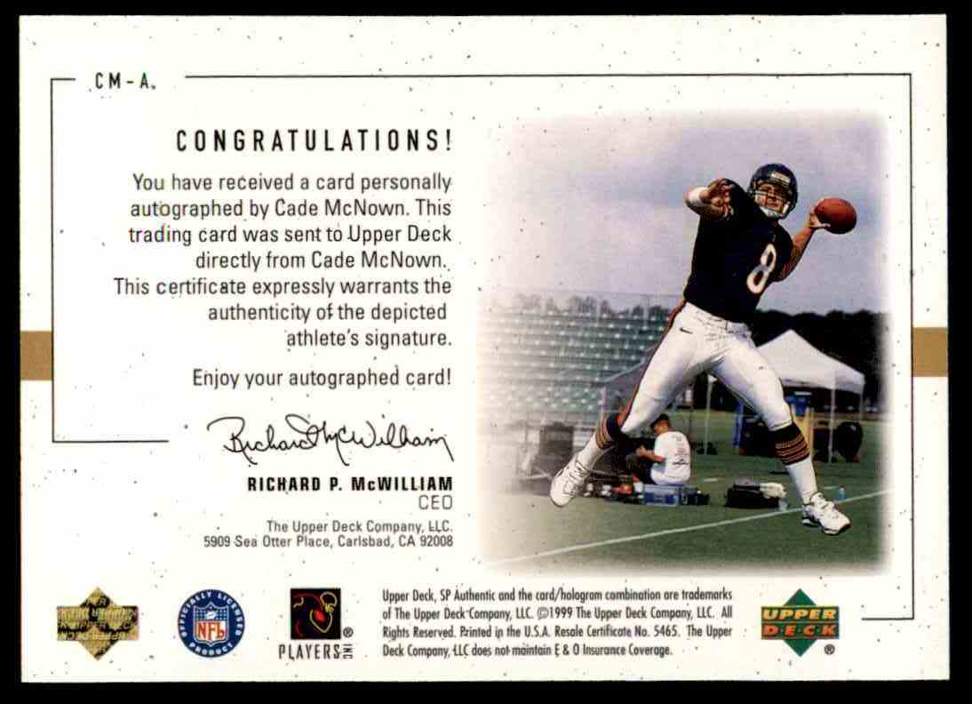 1999 SP Player's Ink Cade Mcnown #CM-A card back image
