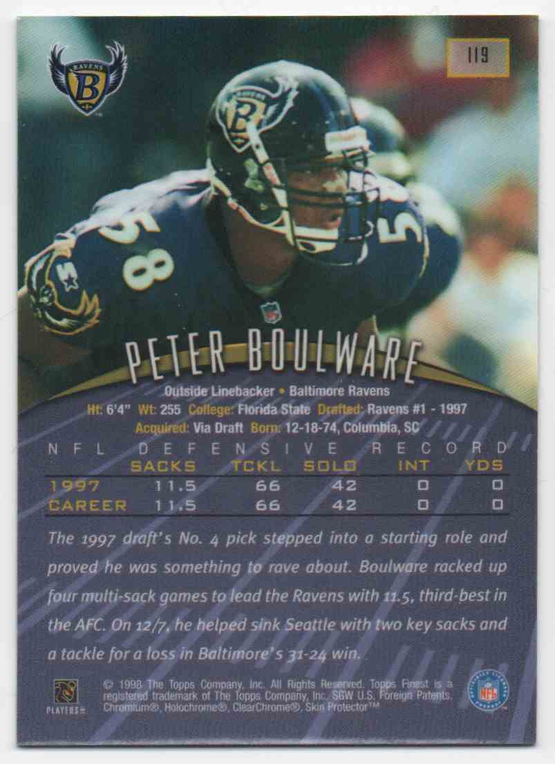 1998 Finest Peter Boulware #119 card back image