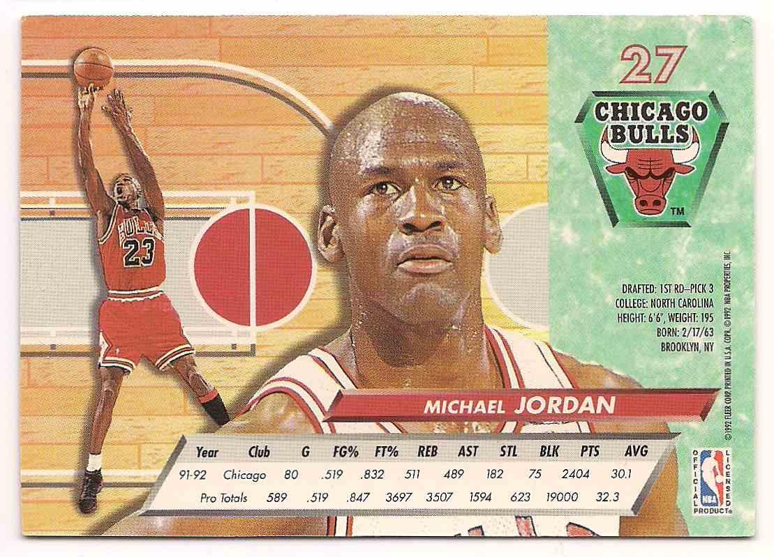 1992-93 Fleer Ultra Michael Jordan #27 card back image