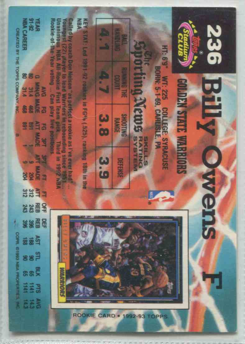 1992 93 Topps Stadium Club Billy Owens 236 on Kronozio